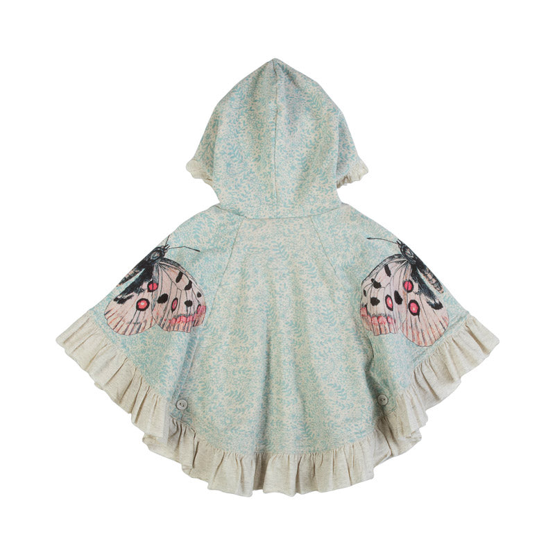 Reversible Fringed Fleece Poncho - Winter Butterflies