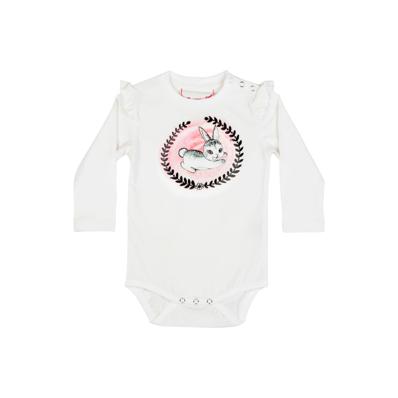Classic Onesie with Shoulder Frills - Cameo Bunny