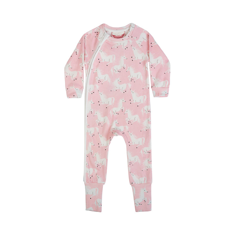 Zip Up Raglan Romper - Unicorns