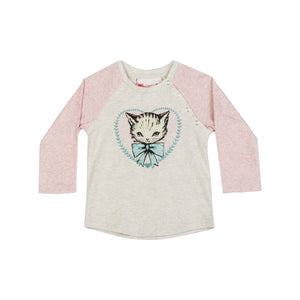 Long Sleeve Raglan T-Shirt - Heart Kitty