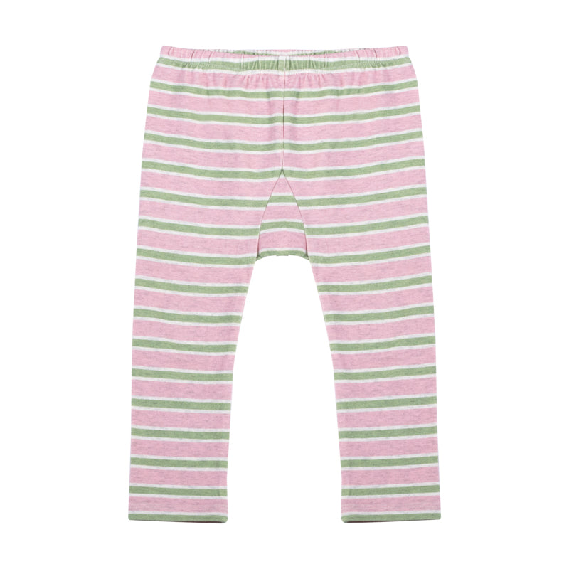 Leggings - Pink and Khaki Stripe