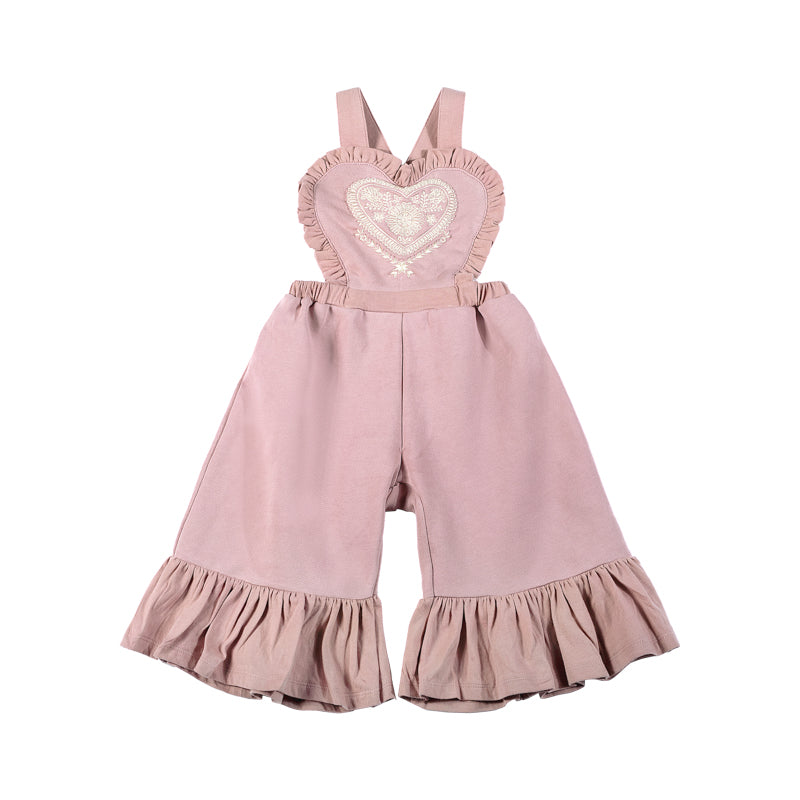 Frilled Fleece Overalls - Folk Embroidery Print