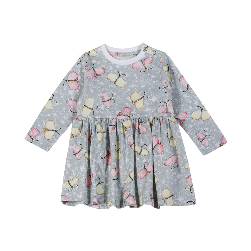Gathered T-shirt Dress - Butterfly Sparkle