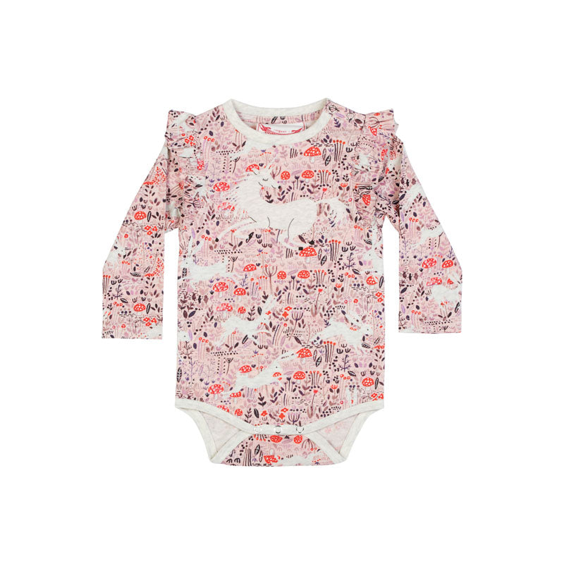 Frilled Shoulder Onesie - Unicorn Field
