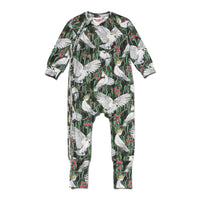 Long Sleeve Raglan Zip Romper - Cockatoo