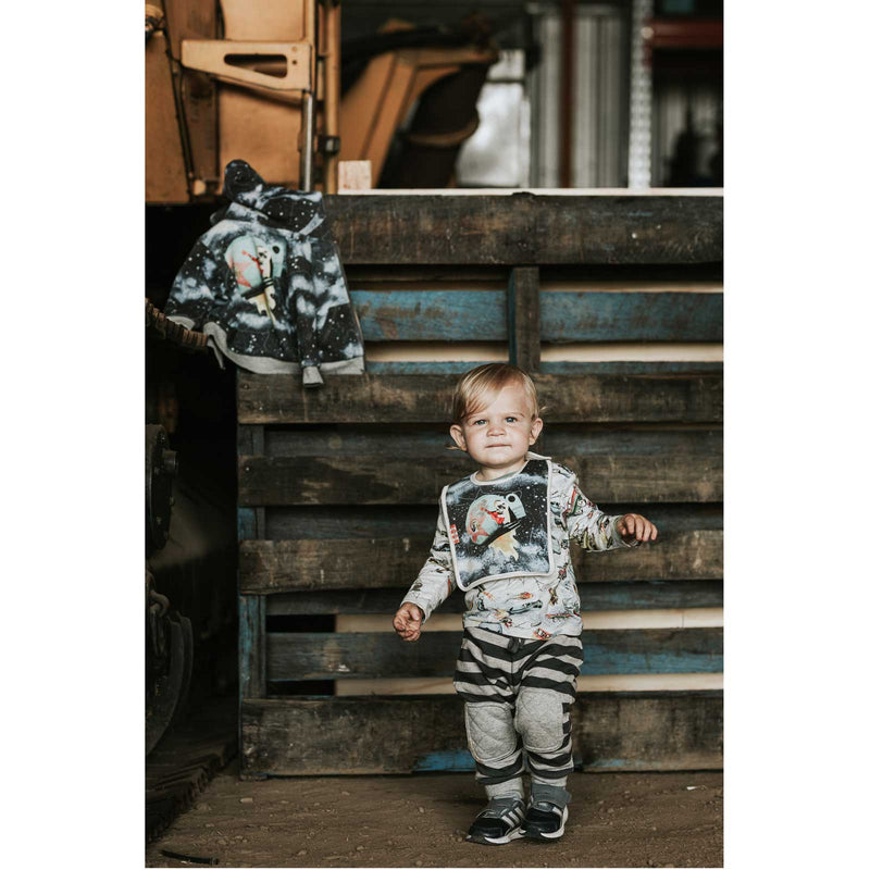 Quilted Pocket Trackies - Blue Stripe