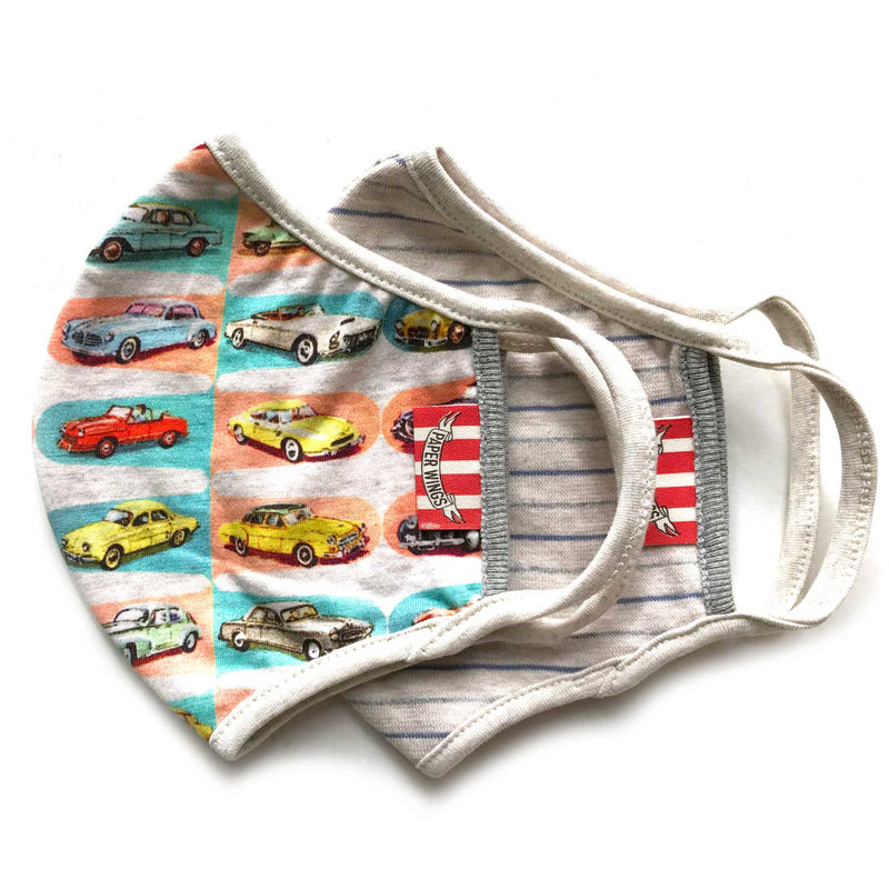 Double Layer Organic Cotton Jersey Adults Face Mask - Cars/Blue Grey stripe
