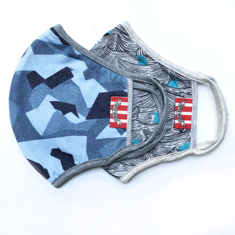 Double Layer Jersey Adults Face Mask - Blue Camo and Sharks