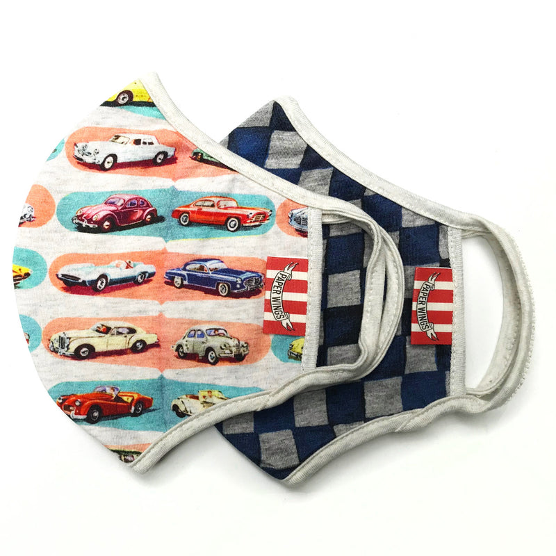 Double Layer Jersey Adults Face Mask - Coloured Cars/Racer Check Blue