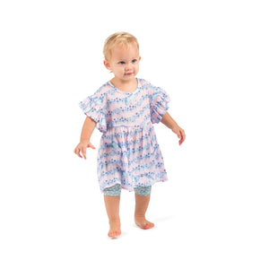 Smock Dress - Indigo Unicorn Stripe