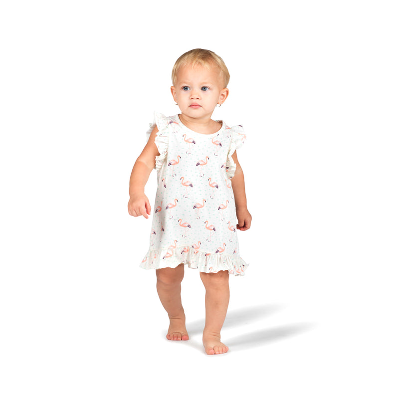 Frilled Tank Dress - Flamingos