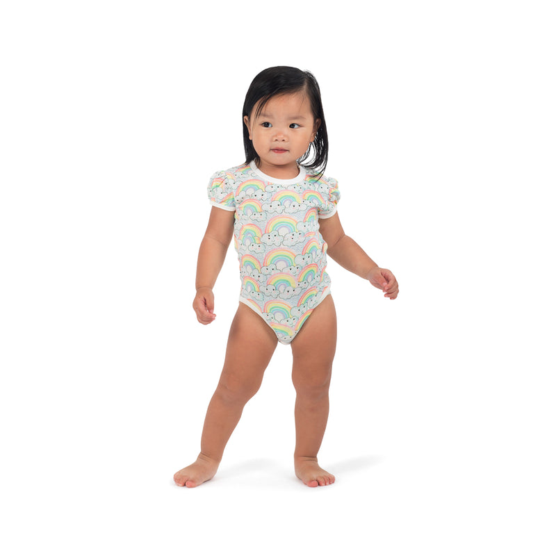 Puffed Sleeve Onesie - Rainbow Love