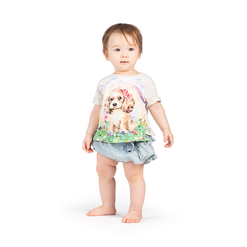 Raglan Cuff T-shirt - Rainbow Puppy