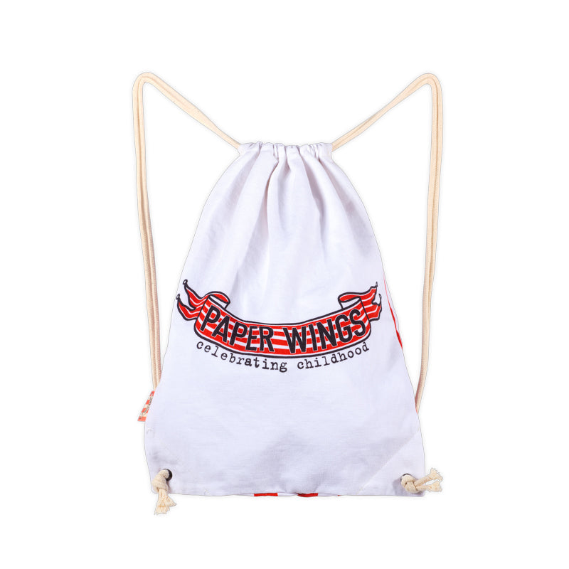 Drawstring Tote - Paper Wings logo