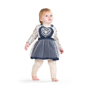 Pinafore Skirt - Folk Heart Embroidery