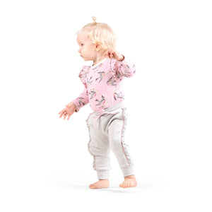 Frilled Onesie - Birds and Stars