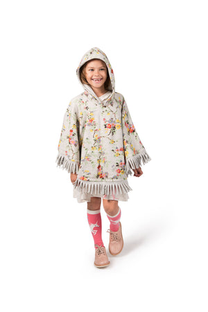 Reversible Frilled Fleece Poncho - Winter Unicorns