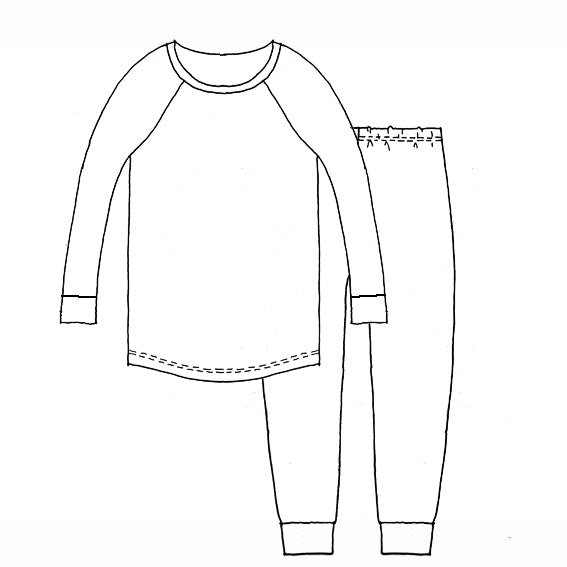 Kids Long Sleeve Raglan T-shirt and Trackies Pyjama Set - Autumn Moths