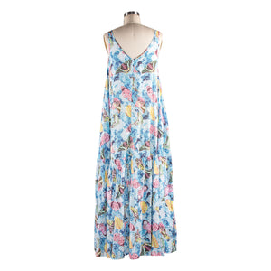 V-neck Maxi - Butterfly Roses