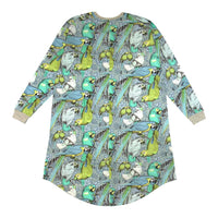 Womens Long Sleeve Nightie - Jungle Birds Blue