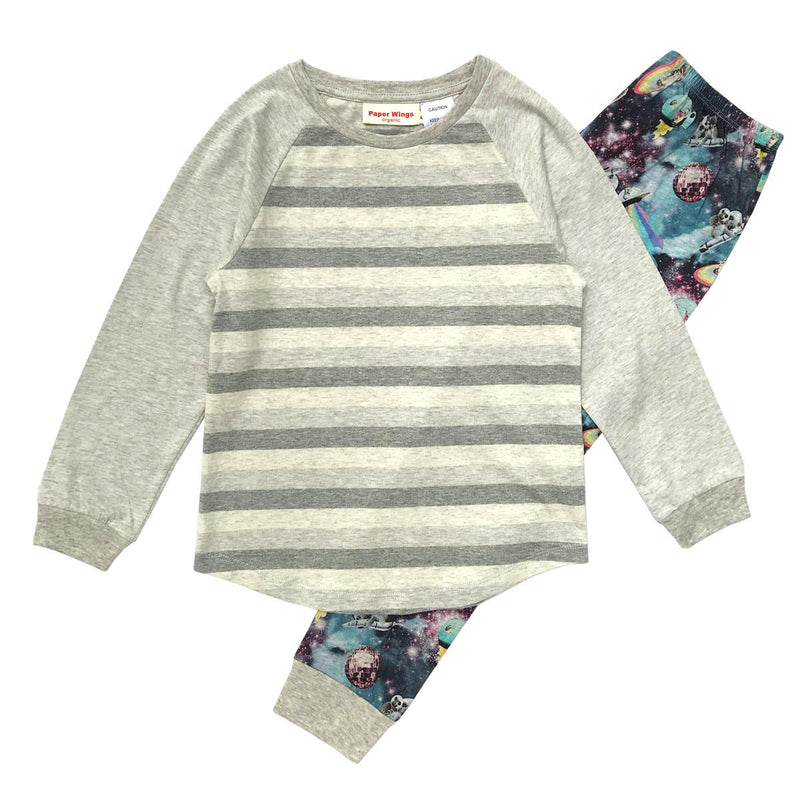 Kids Long Sleeve Raglan T-shirt and Trackies Pyjama Set - Space Disco