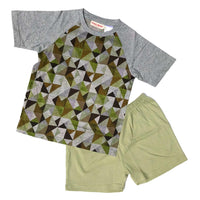 Upcycled Short Sleeve T-shirt/Track Pant Set - Triangles Green