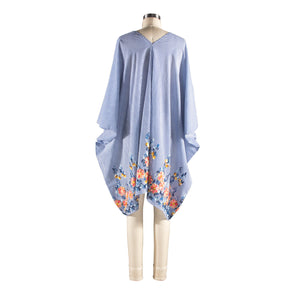 V-Neck Shift - Embroidered Flowers Blue
