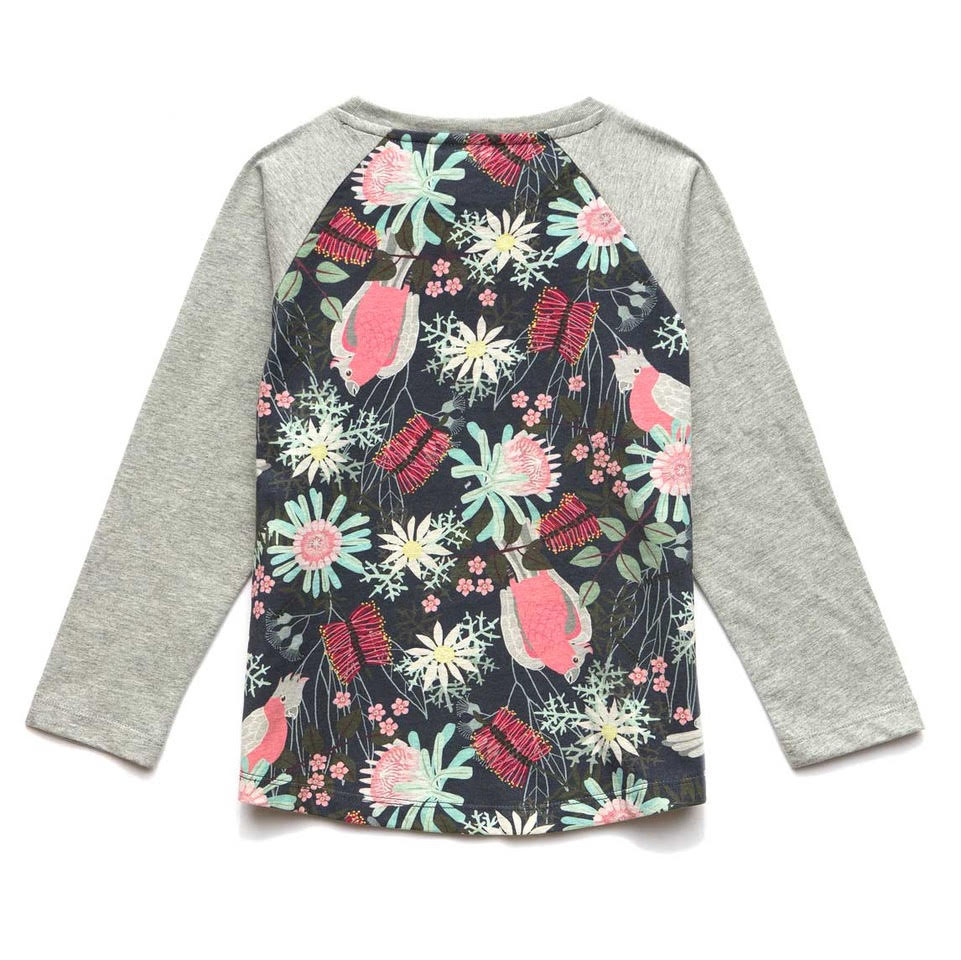 Kids Raglan Long Sleeve T-shirt - Flora and Fauna