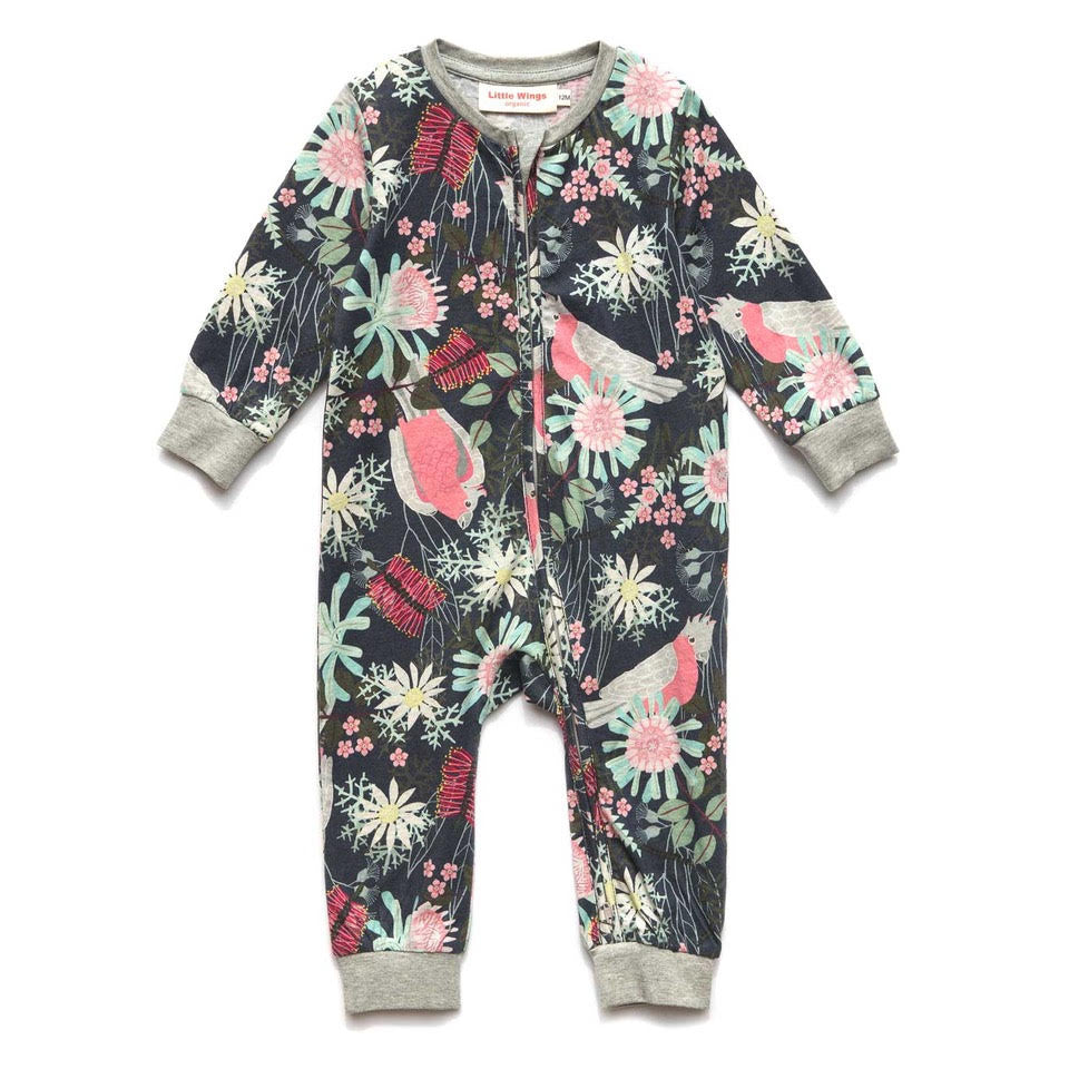 Zip Up Relaxed Fit Romper - Flora and Fauna