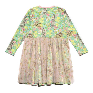 Long Sleeve Gathered T-shirt Dress - Easter Floral