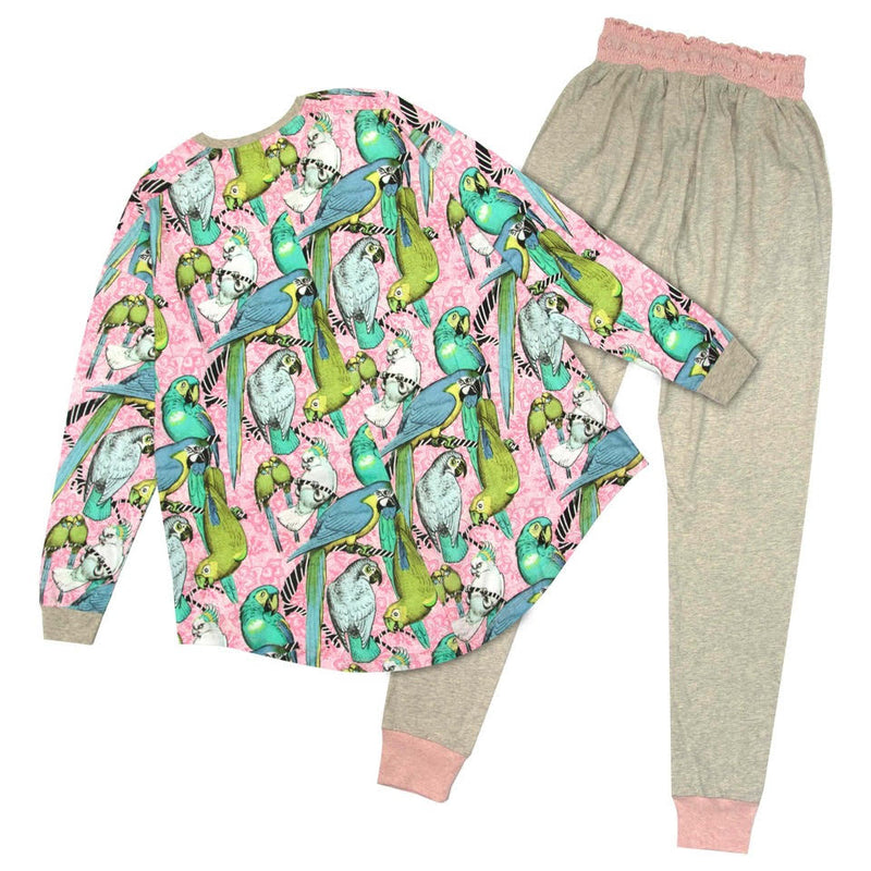 Womens Long Sleeve Pyjama Set - Jungle Birds Pink
