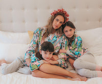 Long Sleeve Raglan Pyjama Set - Jungle Birds Pink