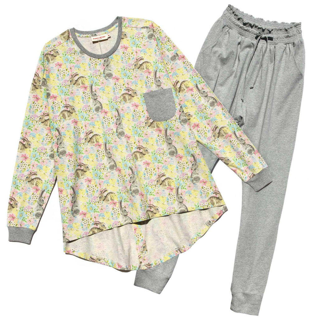 Womens Long Sleeve T-shirt and Shirred Pants Pyjama Set - Easter Dreaming