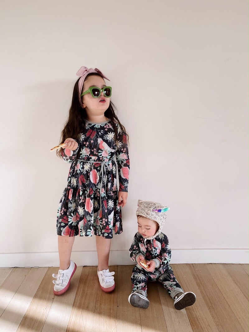 Girls Gathered Jersey Dress - Flora and Fauna