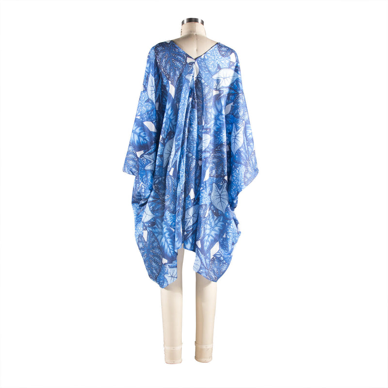 V-Neck Shift - Leaf Print Indigo