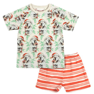 Short Sleeve Raglan Pyjama Set - Koala Christmas Yardage