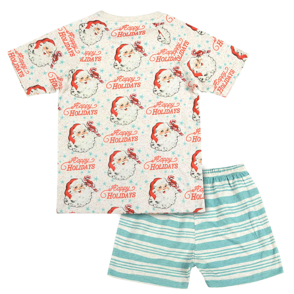 Short Sleeve Raglan Pyjama Set - Happy Holidays