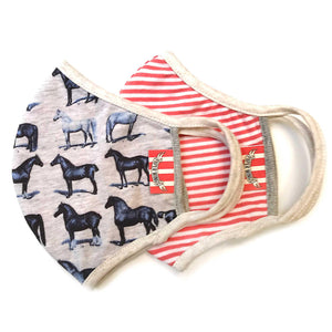 Double Layer Jersey Organic Cotton Adults Face Mask - Horses/Red Stripes