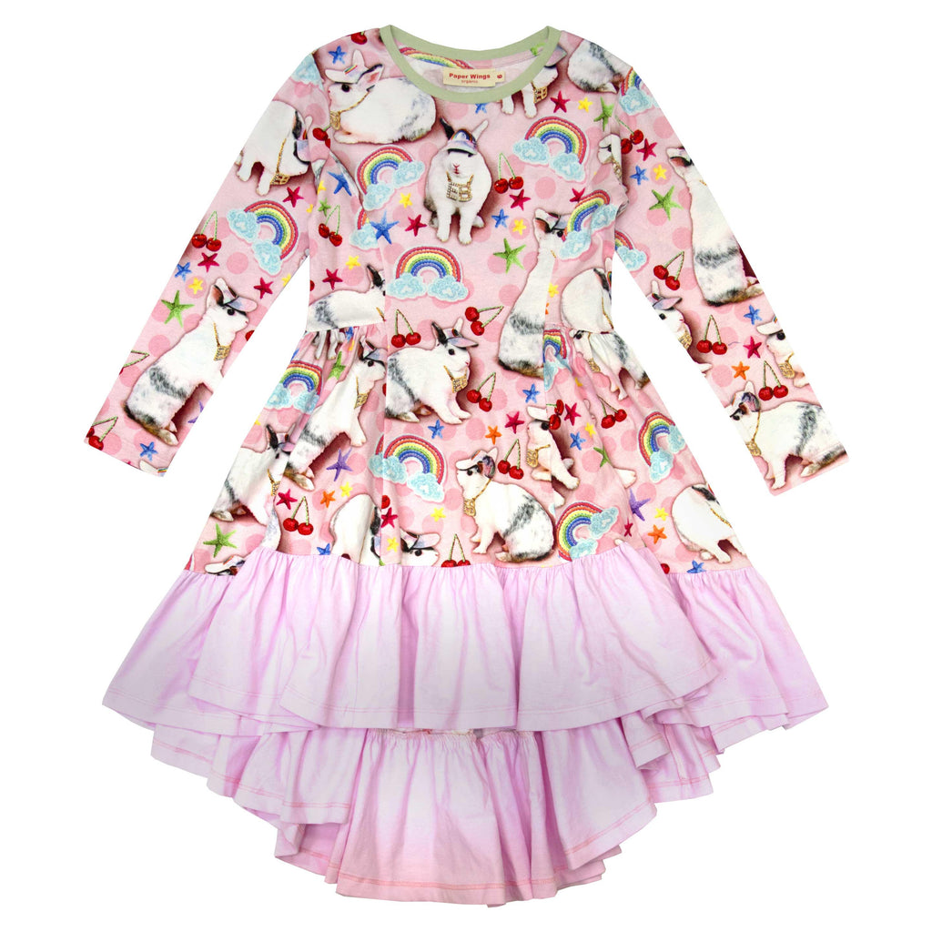 Long Sleeve Frilled Bustle Dress - Easter Bling