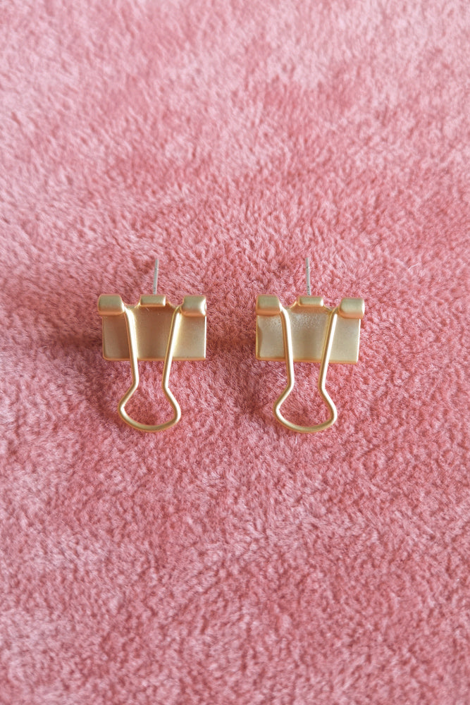 Matte Gold Bull Dog Clip Stud Earring