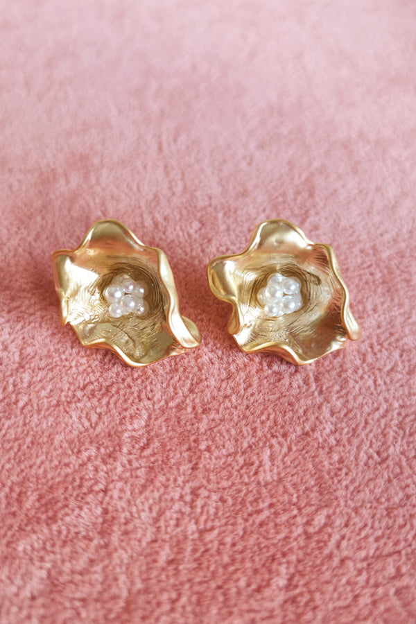 Matte Gold Flower Look Earring with Pearls in the centre