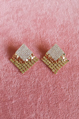 DIAMANTE SQUARE GLOMESH STUD EARRINGS