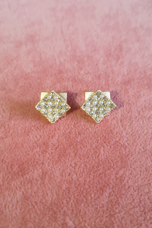 CURVY SQUARE DIAMANTE STUD EARRINGS