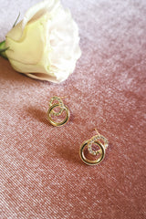 DAINTY DIAMANTE LOOP STUD EARRINGS