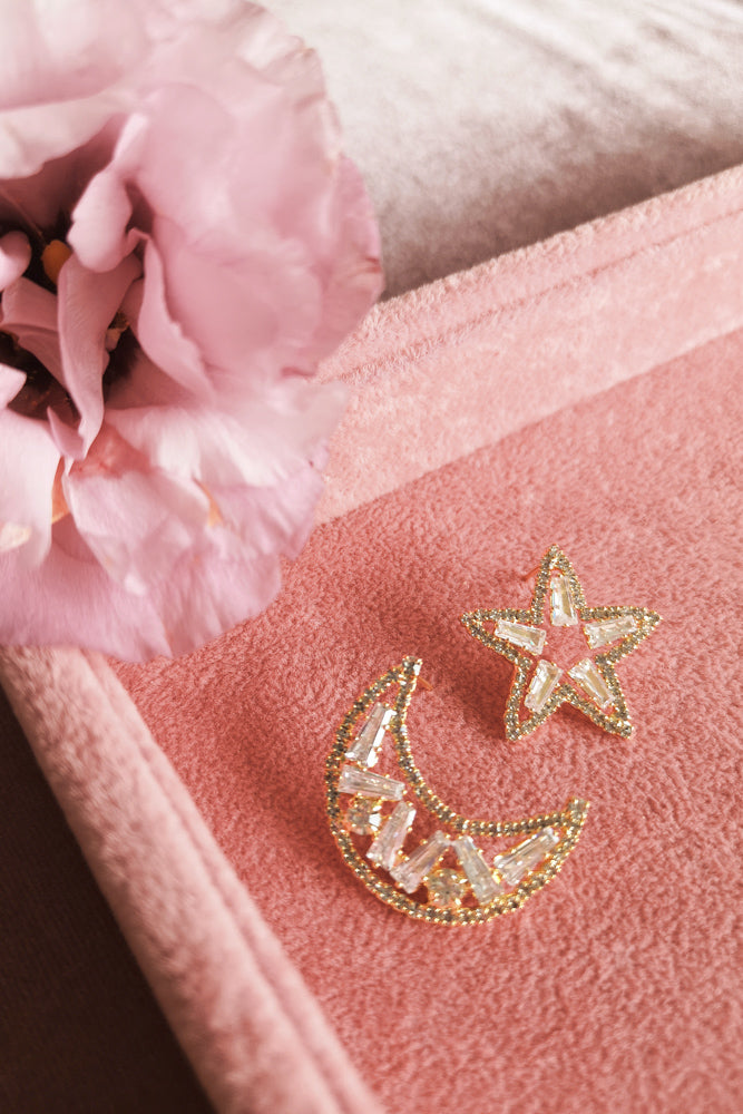 Diamante Star and Moon Stud Earring