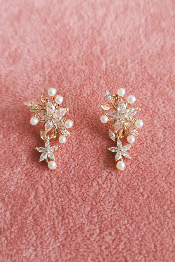 GOLD DIAMANTE FLOWER DROP EARRINGS