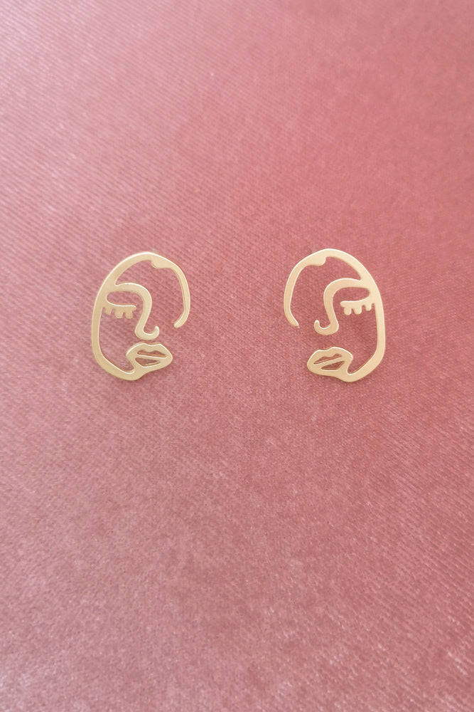 Matte Gold Small Face Stud Earring