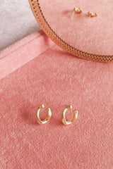 Asymmetrical Matte Gold Chain Stud Earring