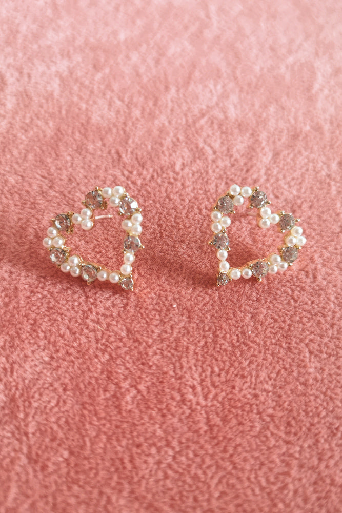 LOVE HEART DIAMANTE STUD EARRINGS