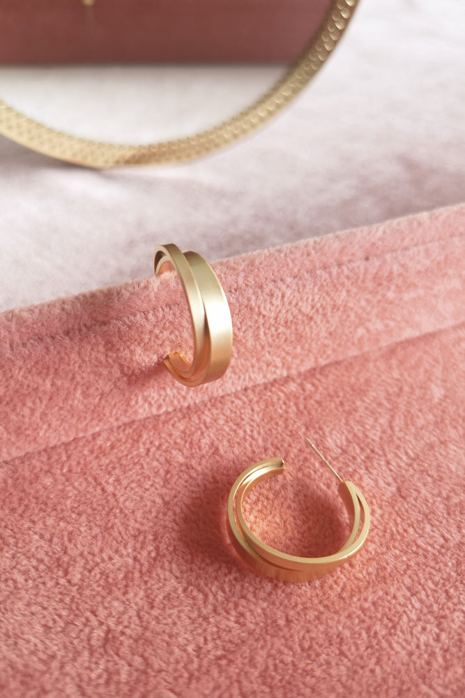 Matte Gold Interlaced Hoop Earring